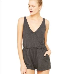 Alo Charcoal Gray Hatha Yoga Athletic Romper XS